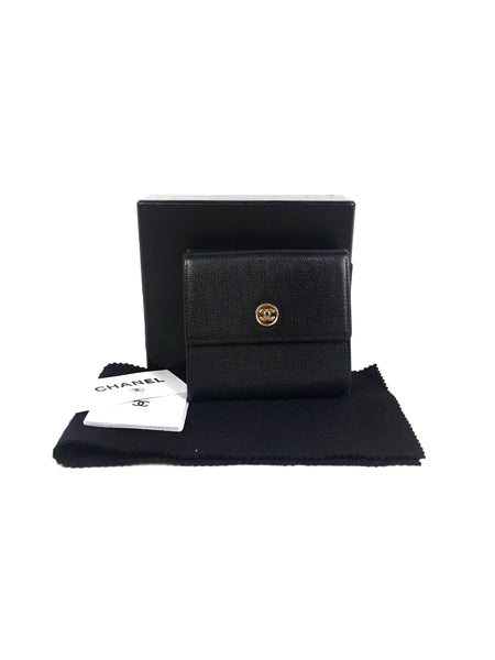 Chanel Vintage Caviar Black Trifold French Wallet W/GHW