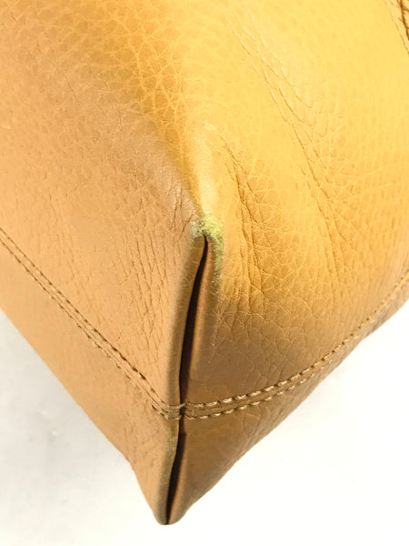 Gucci mustard yellow grained leather shoulder tote bag w/ GHW