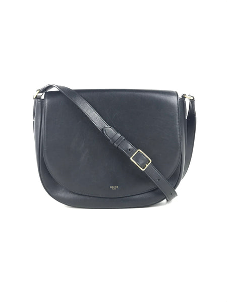 Celine Black smooth leather trotteur crossbody bag w/GHW