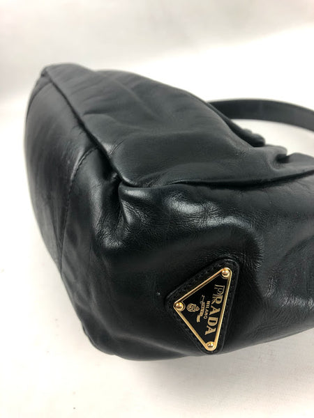PRADA Black Nappa Leather Bag W/ Bow Detail