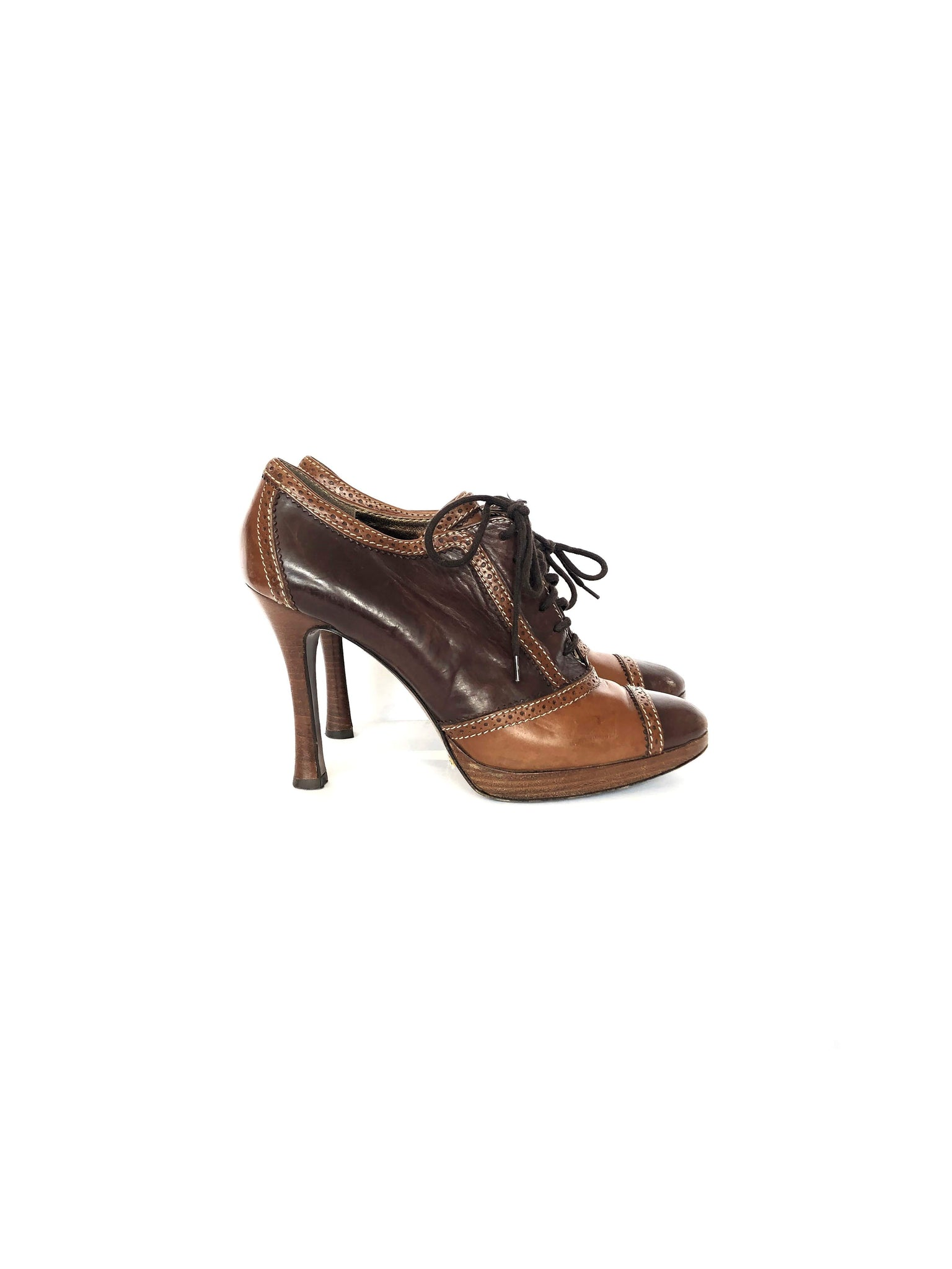 DOLCE AND GABBANA Brown Leather Ankle Oxford Pumps
