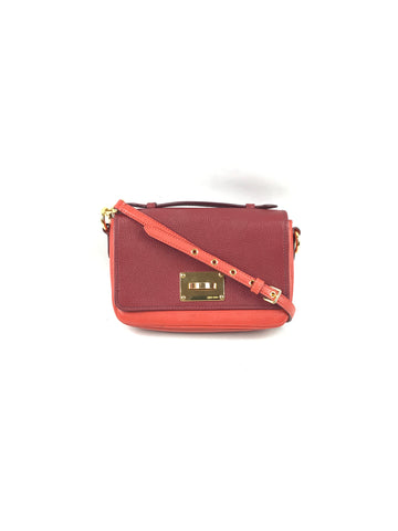 MIU MIU 2 Tone Red/Burgundy Grained Leather Mini Flap Bag W/GHW