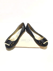 JIMMY CHOO Black Leather w/GHW Buckle Accent Ballet Flats