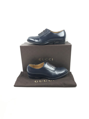 GUCCI Black Leather Lace Up Men's Loafers w/Rubber Soles