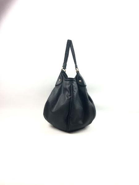 GUCCI Black Pebbled Leather Marrakech Large Hobo Bag