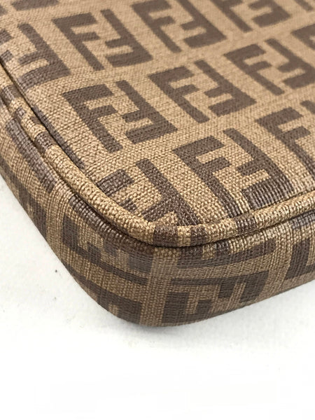 FENDI Vintage Brown FF monogram Coated Canvas Mini Pochette Accessories Bag w/GHW chain