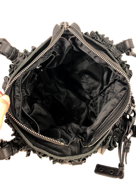 Burberry Black Ruffled Leather Lowry Small Satchel