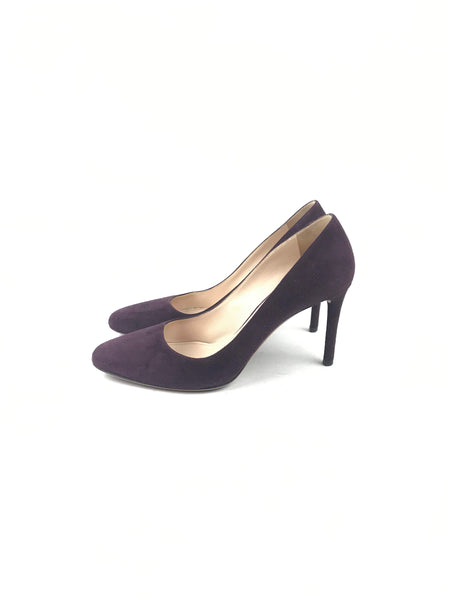 PRADA Purple Suede Kitten Heel Rounded Toe Pumps
