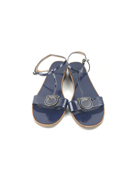 SALVATORE FERRAGAMO Navy Patent Leather Sandals