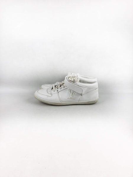 LOUIS VUITTON White Leather High-Top Stellar Sneakers