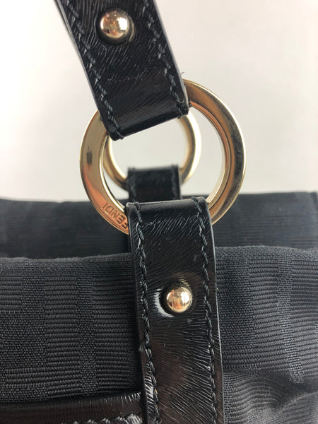 FENDI Black Canvas Tote Bag