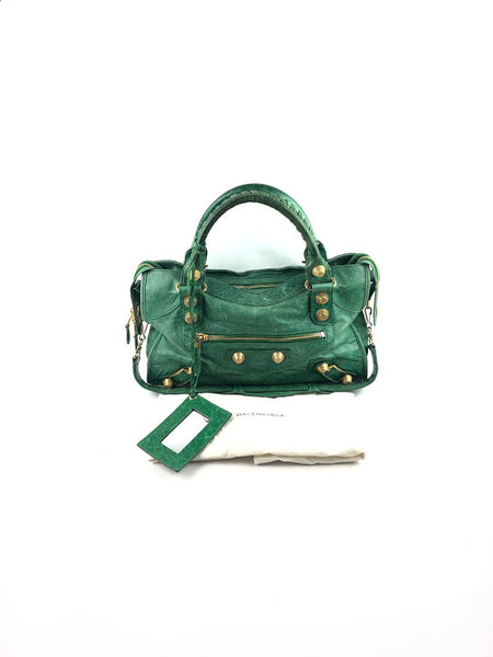 BALENCIAGA Apple Green Leather Small Classic City Bag W/GHW