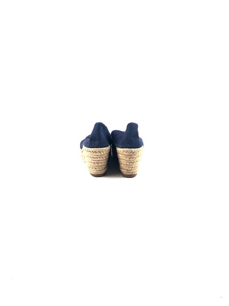 TORY BURCH Navy Blue Canvas Espadrille Wedge
