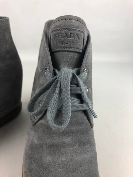 PRADA Grey Suede Lace-Up Wedges