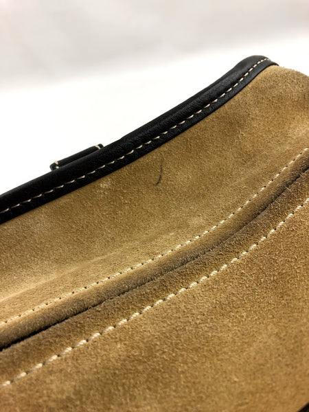 LOEWE Beige Suede Shoulder Bag w/ Brown Leather Detail