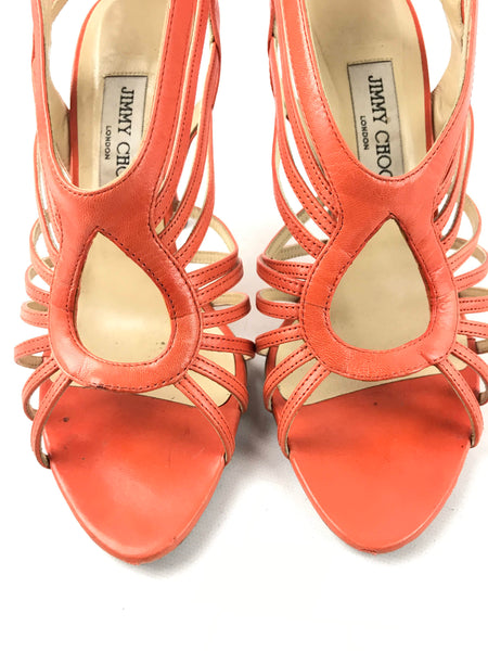 JIMMY CHOO Orange Leather Samoa Kid Caged Sandals
