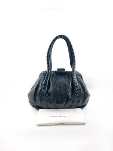 SALVATORE FERRAGAMO Black Croc Embossed Shoulder Bag w/ Buckle Closure