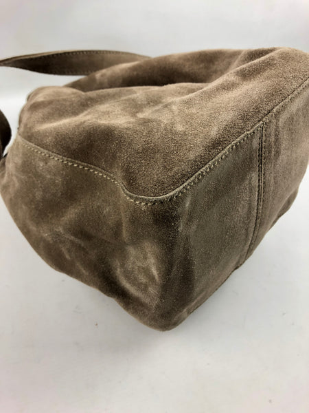 PRADA Light Brown Suede Leather Bucket Bag