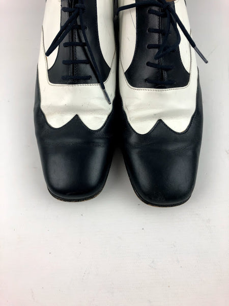 SALVATORE FERRAGAMO Two Tone Black & White Leather Lace Up Oxfords