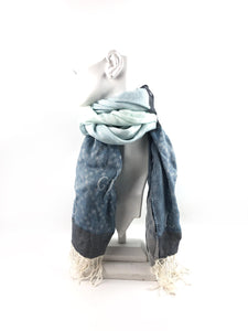 GUCCI Light blue/grey Linen GG Scarf