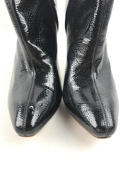 ALEXANDER MCQUEEN Black patent Leather Ankle Booties