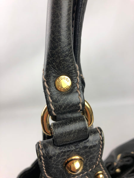 GUCCI Gray Leather Studded Pelham Hobo Bag