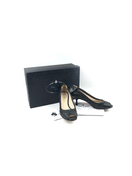PRADA Black Crinkled Leather Kitten Heels w/Bow Detail