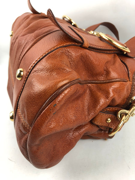 MARC JACOBS Brown Grained Leather Shoulder Bag