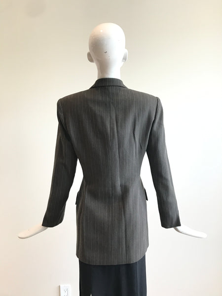 CHRISTIAN DIOR Vintage Greyish Brown & Stripped Wool Blazer