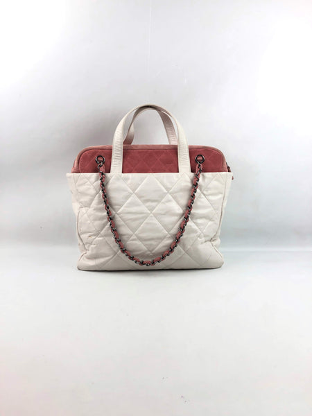 CHANEL White Calfskin W/ Pink Suede Shoulder Tote