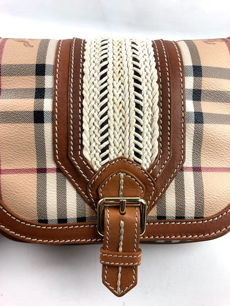 BURBERRY Brown Haymarket Check Crossbody Bag