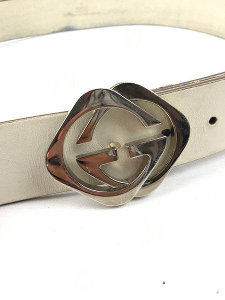 GUCCI White Leather Vintage Belt w/SHW