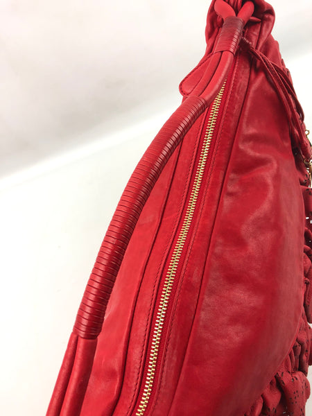 CHRISTIAN DIOR Red Lambskin Ruffle Large Gypsy Shoulder Bag