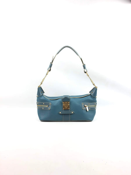 LOUIS VUITTON Blue Suhali Leather L'impetueux Shoulder Bag