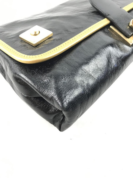 MARC JACOBS Black Polished Leather Clutch W/ Gold Leather Trim Detailing