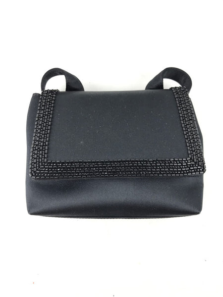 CHANEL Black Satin Beaded Vintage Evening Bag