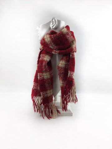 BURBERRY London Merino Wool/Polyester Red Check Fringed Scarf