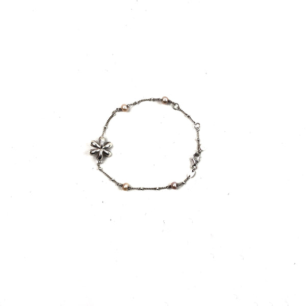 LINKS OF LONDON Sterling Silver w/Pink Flower Accent Bracelet