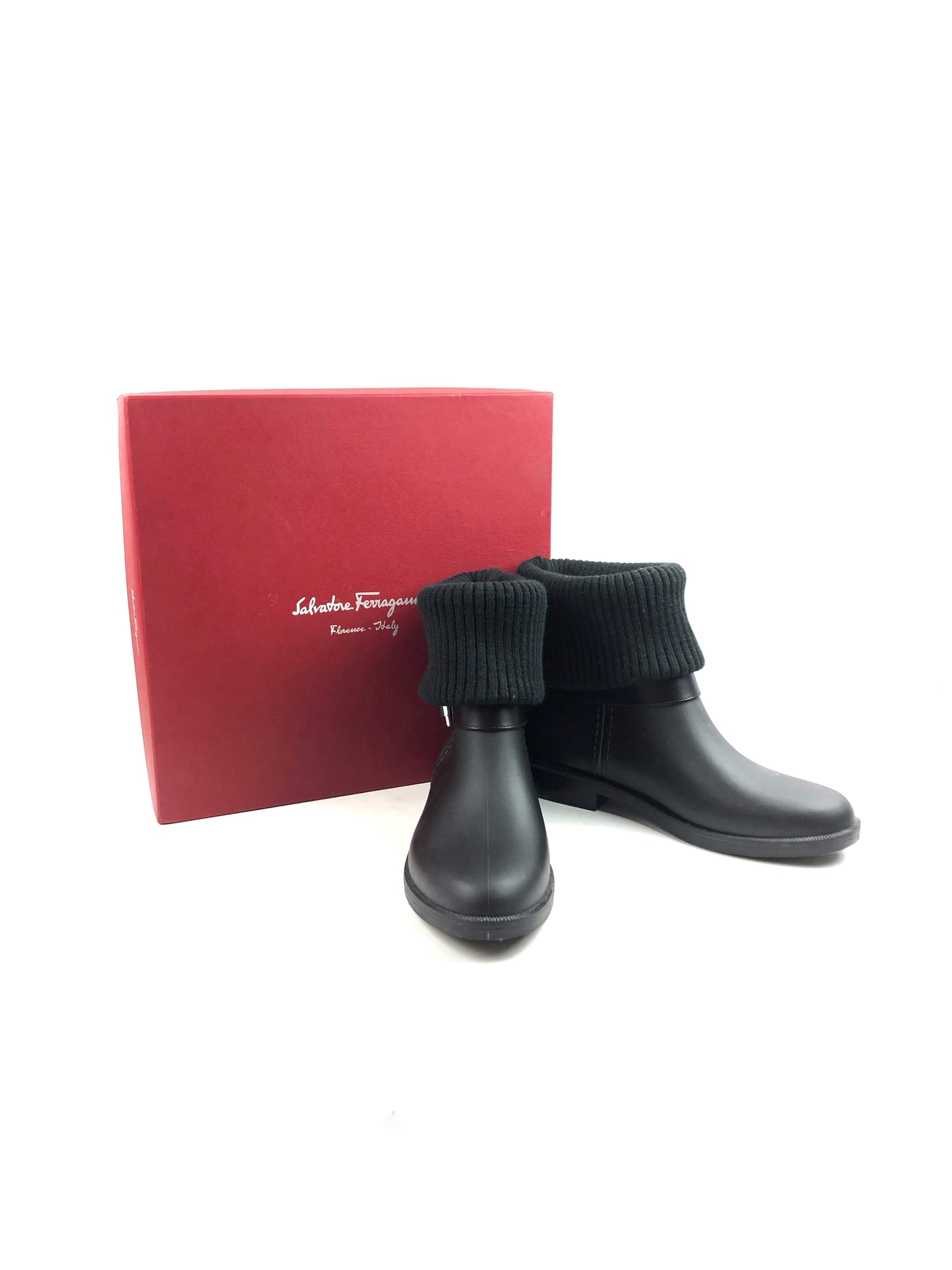 SALVATORE FERRAGAMO Black Rubber Boots w/Knit Accent