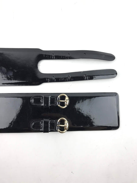 GUCCI Black Patent Leather Double Buckle Wide Belt