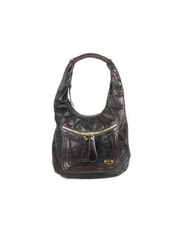 CHOLE Dark Brown Large Leather Hobo Bag w/GHW