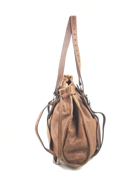 MIU MIU Aged Grained Brown Leather Tote