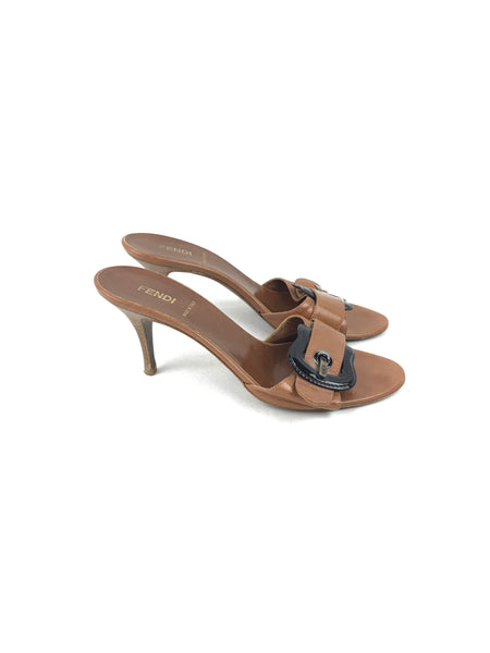 FENDI Brown Leather W/ Buckle Open Toe Heeled Sandals