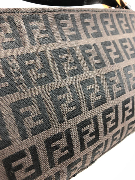 FENDI Brown Fabric Zucca Print Baguette