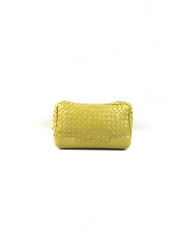 BOTTEGA VENETA Yellow Intrecciato Woven Leather Cosmetic Pouch