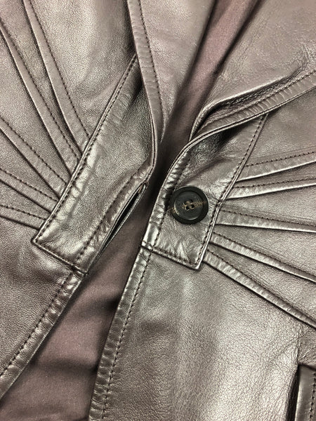 GUCCI Chocolate Brown Smooth Leather Jacket