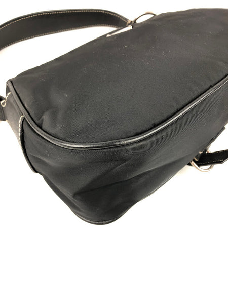 PRADA Black Nylon Shoulder Bag w/ Black Leather Trim & Handle