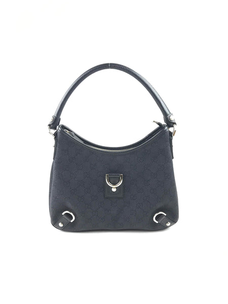 GUCCI Grey Monogram Canvas D Ring Hobo Bag