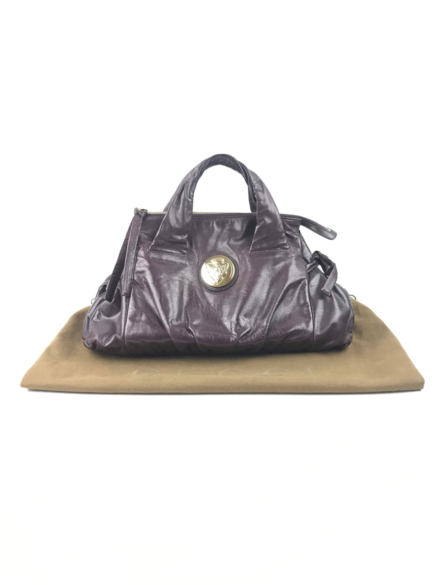 GUCCI Purple Leather Crest Hysteria Tote
