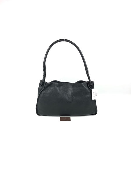 BOTTEGA VENETA Black Pebbled Leather Shoulder Bag